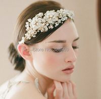New Arrival Vintage Noble Crystal Princess Headbands Tiaras Fashion Pearl crown for Bride Wedding Pageant hair Accessories