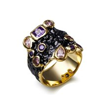 Newest rings in gold color fashion the best quality China supplier anel feminino Vintage bohemian Anel preto ring for women(China)