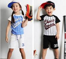 New Children Clothing Set Baseball Letter Girls Boys Cotton Sport Clothing Set T Shirt + Short Baby Clothing Set Free Shipping