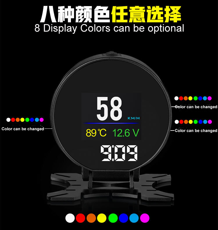 P15 Smart Car Head Up Display HUD with Windshield Digital Motor Speed Meters Projector OBD2EUOBD Interface for 99% of Vehicles_F8