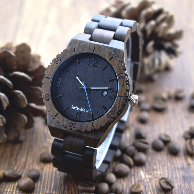 Black Sandalwood Men Watches Luxury Brand Male Watch Quartz Wood Watch Dropshipping Quartz Wristwatches With Calendar Function<br>