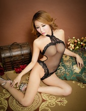 Sexy hot erotic halter open crotch open bottom hollow out badysuit tuansparent lace night teddy valentines day lingerie(China)
