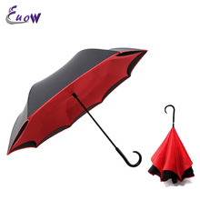 Windproof Double Layer Reverse Umbrella Double Layer Inside Inverted Upside Down Straight Umbrella Self Standing
