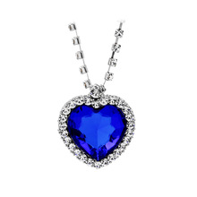 Movie Jewelry Titanic Heart Of Ocean Pendant Necklace Blue Heart Necklace Crystal Rhinestone Luxury Necklace