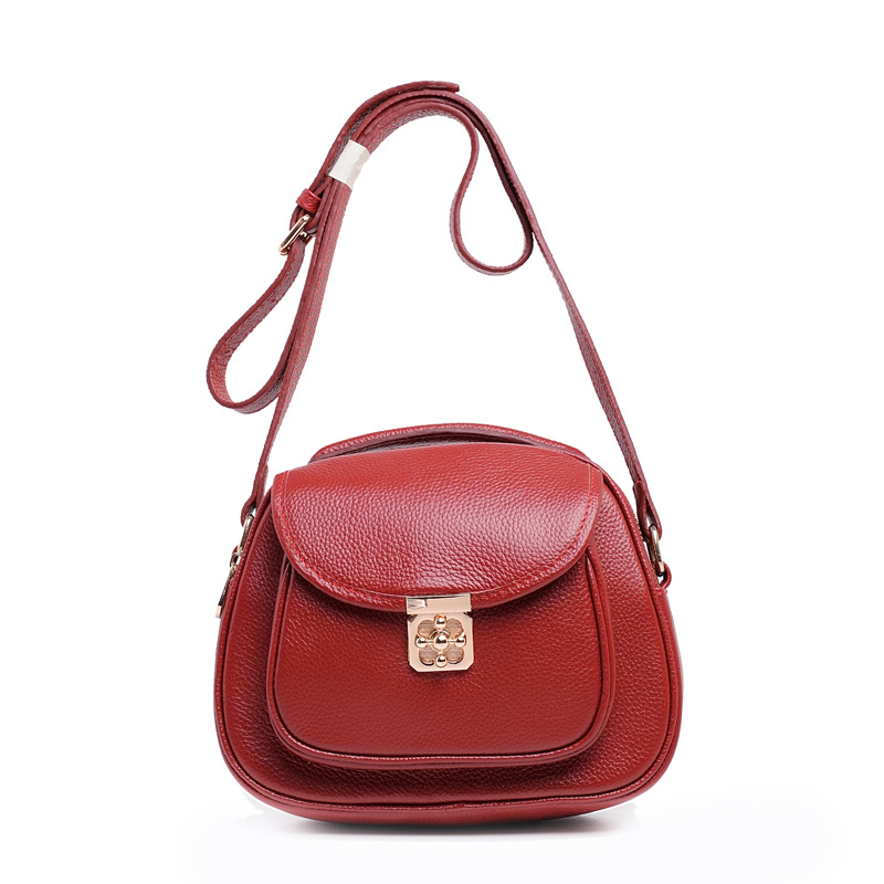 2017 Europe and The United States Style Real Leather Womens Handbag Lock Round Shape Female Crossbody Bag Causal Small Flap Bag<br>