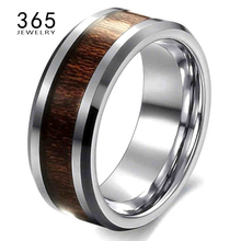 2017 Unique Jewelry Titanium Color Never Fade Retro Wedding Wood Rings for Men Top Quality Mens Promise Stainless Steel Ring
