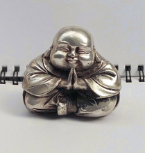 ymy---717+++Old Tibet Silver Sitting Laughing Buddha Statue(China)