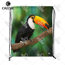 Tropical Rainforest Cute Toucan Bird Print Custom individual Nylon Fabric Drawstring Shoes Storage Dust Bag Pack of 4()
