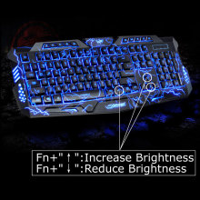 English Version Waterproof Backlight LED Professional Gaming Keyboard M200 USB Wired Powered Full Key For PC Computer Peripheral(China)