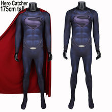 Hero Catcher High Quality For 175cm Tall Superman Costume With Cape Man Of Steel Superman Suit Superman Spandex Suit