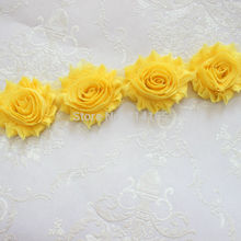 1 Yard yellow Chiffon Flower Shabby flower Trim rose flower trim for hai flower headband clothes