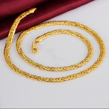 Men's Cool Link Chains Gold Rose colors golden 6mm necklaces solid n823 gift pouches free 2015 New Jewelry(China)