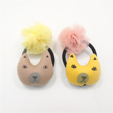 10pcs/lot Girls Mesh Ball Elastic Hairbands Yellow Light Brown Cartoon Dot Fine Hair Bands Gauze Fabric Children Tulle Hair Rope(China)
