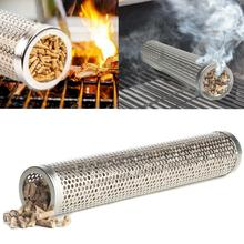 Mesh BBQ Grill Hot Cold Smoking Tube Smoke Generator Stainless Steel Smoker Wood Pellet Kitchen Outdoors Barbecue Tools Round
