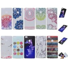 Crazy Cow Case For Huawei P9 Lite Funda Cover Coque Case Soft Silicone Marble Stone Lace Plum Flower Donut Stripe Mask Leaf Case