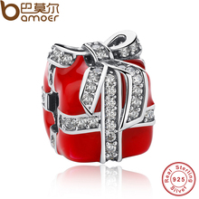 Authentic 925 Sterling Silver Sparkling Bow Surprise Gift Box Red Enamel Clear CZ Charm Fit Bracelet Berloque PAS236(China)