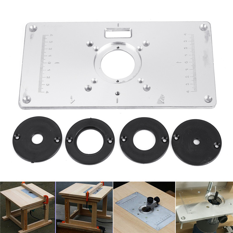New Aluminum Metal Router Table Insert Plate +4pcs Rings For DIY Woodworking Tool Wood Router Trimmer Model Engrave Machine<br>