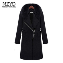 Winter Women Woolen Coat 2017 New Fashion Lapels collar Long sleeve Warm long Coat Black Loose Big yards Autumn Jacket SJ1178(China)