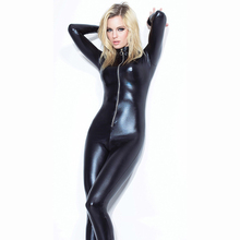 Buy Lady Sexy Zipper Faux Leather Catsuit Jumpsuit Womens Fetish Latex Leotard Costume Black Wet look Bodysuit Slim Clubwear