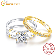 BONLAVIE Wedding Band Rings Set Solid 925 Sterling Silver 2.6Ct White Topaz Engagement Ring with 18K Gold Plated Tail Rings