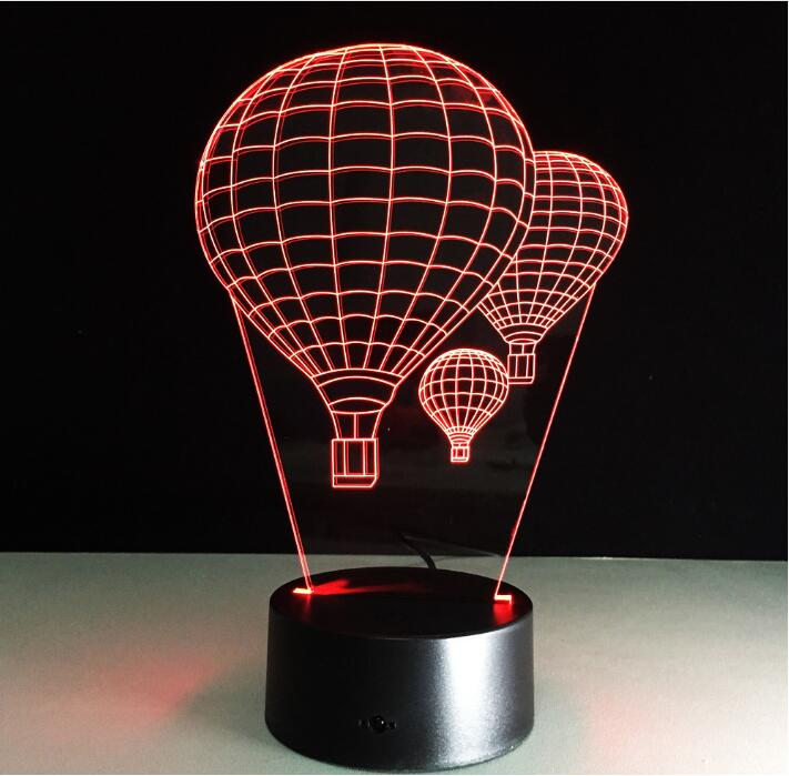 Hot air balloon 3D Led Table Lamp Colors Discoloration Night light Creative Luminaria optical illusion Lampe Valentine Day Gift(China (Mainland))