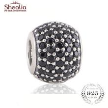 SHEALIA Black Pave Lights Charms 925 Sterling Silver High Quality CZ Pave Ball Beads Fit European Style Brand Logo Bracelets