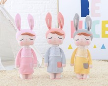 Metoo 2017 New Design High Quality Angela Dolls With Gift bag Stuffed Pink Yellow Gray Bunny Gifts for Kids Girls 45*16cm(China)