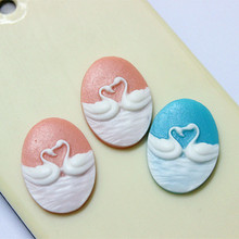 free shipping! wholesale 100pcs/lot 18*24mm resin swan cameo flat back cabochon for DIY jewelry/phone(China)