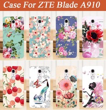 Case For ZTE Blade A910 a 910 Newest Popular Case SOFT TPU Cover Brilliant Painting Pink Tree Design FOR ZTE A910 tpu Cover Case