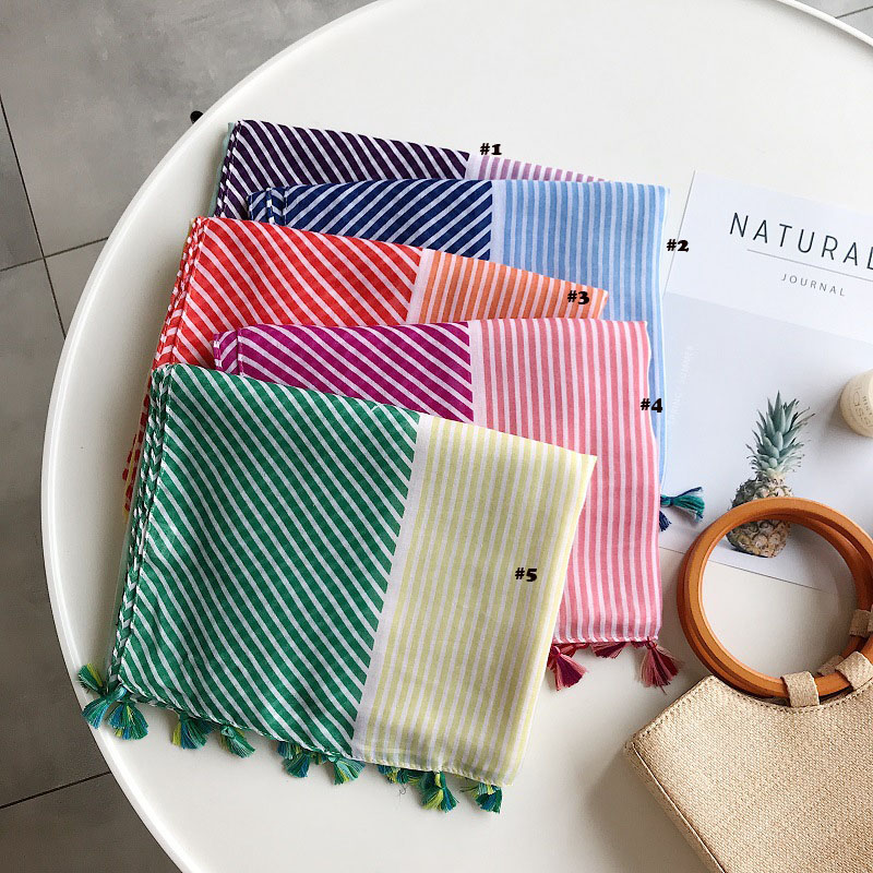 2019 Fashion Newest Geometry Stripe Pattern Cotton Tassel Scarf Shawls 5Colors 10pcs/lot