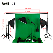 Photo Studio Backdrop Lighting Kit Set +2.6m*3m Background Support Stand+1.8m*2.8m cotton backdrops+Studio Boom Arm Light Stand