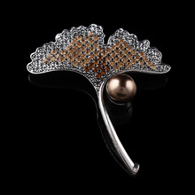 Women's dresses Ginkgo leaves cheap brooches pins simulated pearl jewelry