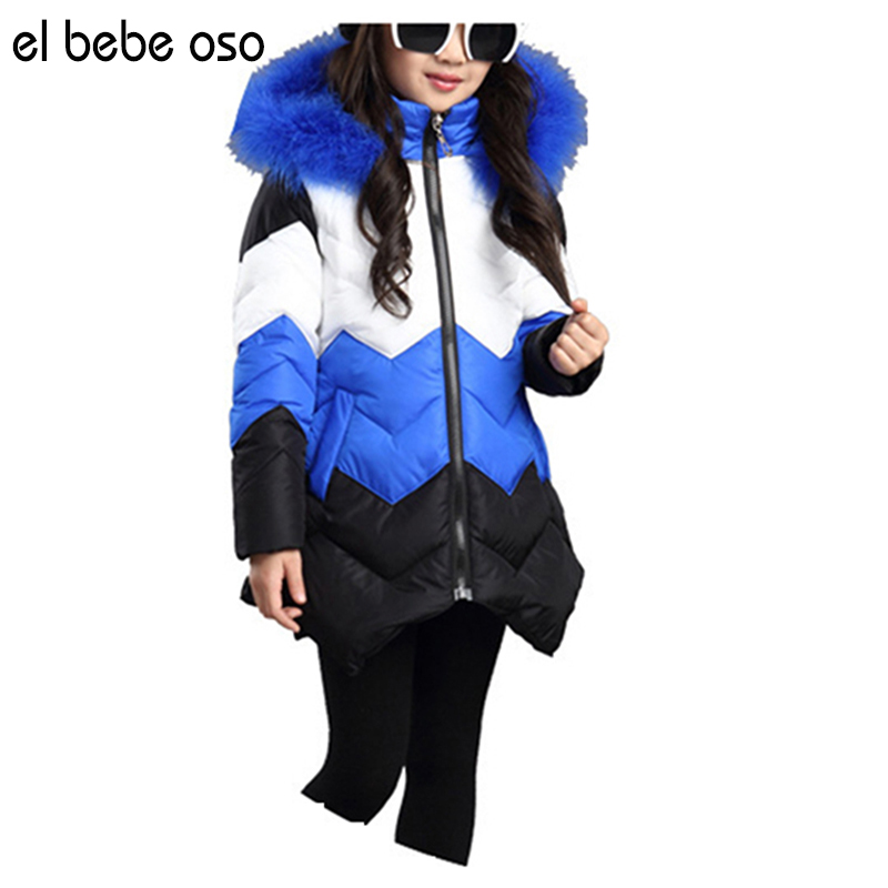el bebe oso Childrens Clothing Winter Cotton-padded Jacket 2017 Girls Fashion Long Patchwork Thicken Hooded Coat XL522Одежда и ак�е��уары<br><br><br>Aliexpress