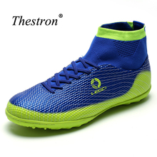 Thestron Cheap Soccer Shoes Kids Big Size Mens Football Shoes Non-Slip High Ankle Football Boots Blue/Green Sock Boots Football(China)