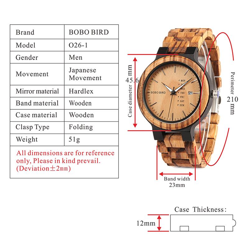 Zegarek drewniany Bobo Bird Data Light O26-1 6