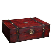 New Design Jewelry Retro Metal Storage Lock Wooden Box/ Chinese Antique Wooden Jewelry Management Retro Candy Container 1pc