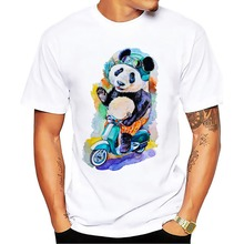 panda on vespa t shirt men white plus size cool Cross-country lion tee shirt homme punk wolf tshirts Raccoon funny t-shirts(China)