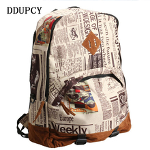 DDUPCY Hot  2017 NEW Tide Male Newspaper Design Restoring Ancient Ways Backpack Individuality Leisure Fashion Backpack
