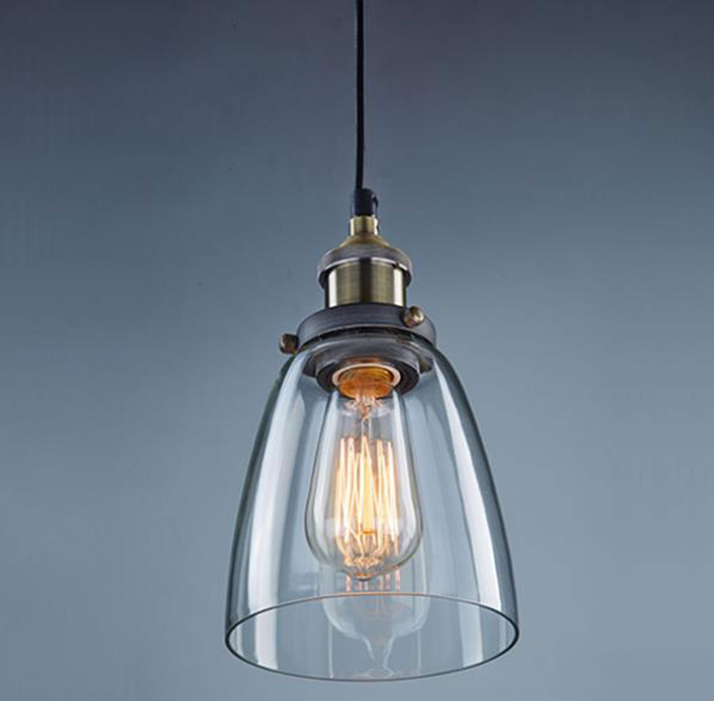 AC100-240V 12.5*17cm glass lampshade Vintage Industrial Bell hanging fixture Bedroom Kitchen Pub Bar Pendant Light lamp for home<br><br>Aliexpress