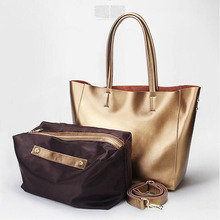 Free shipping Star style gold patent leather large bag genuine cowhide fashion leather women's handbag fashion shoulder bag