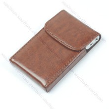 THINKTHENDO Brown Leather Business Name ID Card Case Holder Wallet