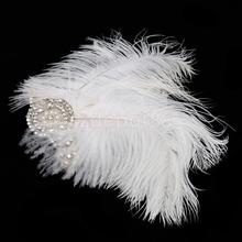 Wedding Party Feather 1920s Flapper Headpiece Headband Fancy Great Gatsby White