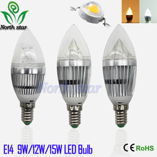 1pcs Dimmable E14 9W 12W 15W 110v 220v LED Candle Light LED bulb lamp LED spot Light Free shipping(China)