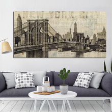 Retro Print Modern Abstract Street Seaport City Famous Building Bridge Painting Poster Canvas Art Wall Picture for Living Room(China)
