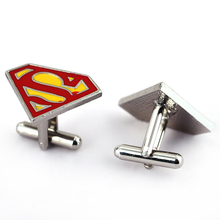 Movie Jewelry new arrival hot sale superman logo  red&yellow Shirt Cuff Links Cufflinks Wedding Party Gift New Hot
