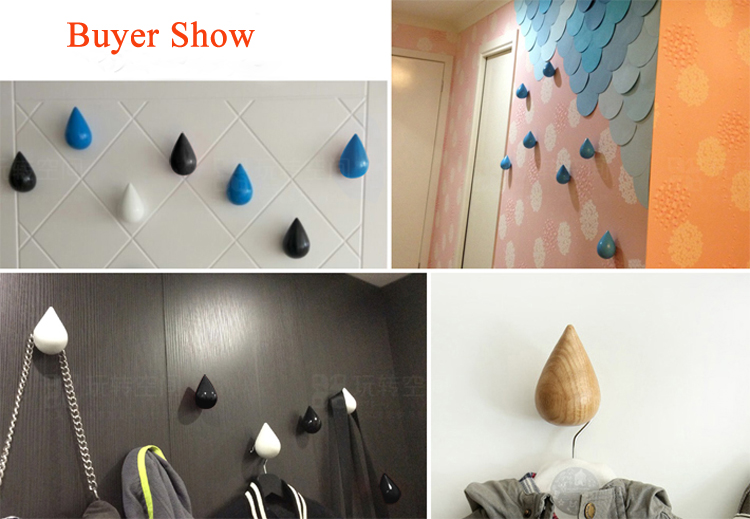 Europe Style Wooden Wall Hanger Coat Hook Water Drop Shape Coat Racks Decorative Hook Free Shipping(China (Mainland))