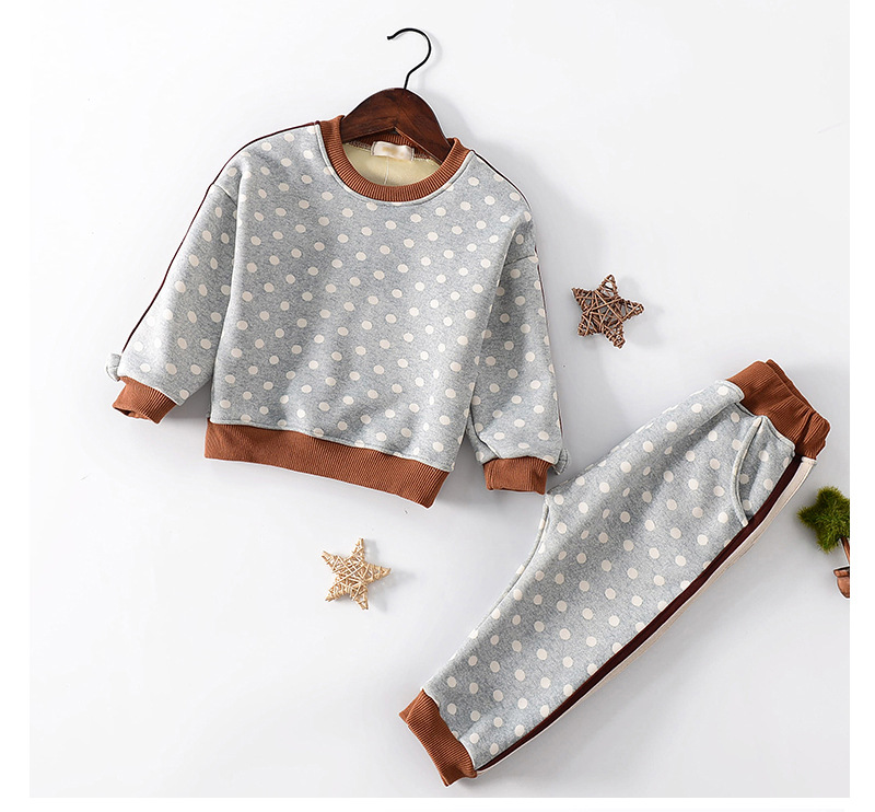 2017 new winter Girls Kids boys Dots sweater + trousers pants comfortable cute baby Clothes Children Clothing 20W