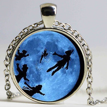 Steampunk Glass Dome Pendant Peter Pan Necklace, Never grow up quote jewelry, glass Cabochon Necklace chain jewelry new(China)