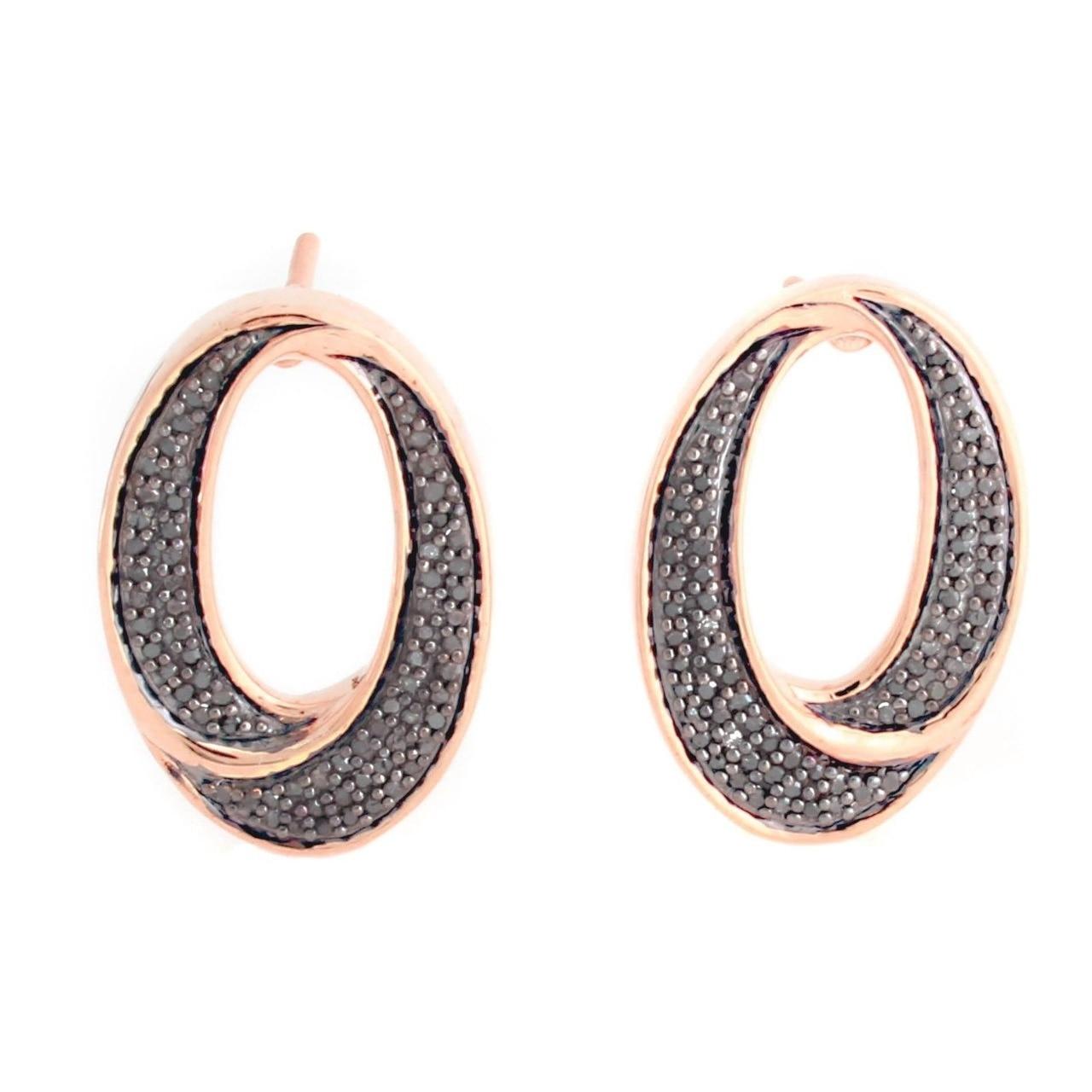 18K Rose Gold Over Sterling Silver 0.30 ct Black Diamond Stud Earrings Q608