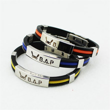Wholesale KPOP Fan B.A.P Best Absolute Perfect BAP Team Logo Sport Silicone Titanium steel Friendship Wristband Bracelets Y2745(China)